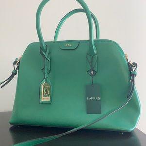 New Ralph Lauren Leather Satchel Handbag, Green